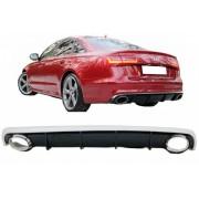 Diffusore estrattore paraurti posteriore TUNING look RS6 AUDI A6 4G 2011 2012 2013 2014 2015 berlina nero lucido piano doppio scarico