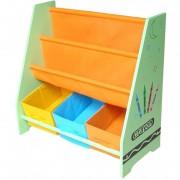 Organizator carti si jucarii cu cadru din lemn Green Crayon Style
