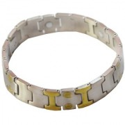 Men Style Mens Women Two Tone Plated Magnetic Therapy Health Energy Bio-Magnetic SBr003029 Gold and Silver Stainless Steel Link Bracelet For Men And Boys