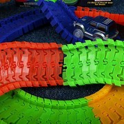 MSE 220Pcs Track With 1 Car Glowing Racing Track Toy Car Electronic Rail Glow Puzzle Roller Coaster Track For Kids Christmas Gift