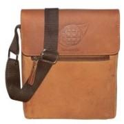 Kan Hunter Leather Messenger Bag/Travel Pouch/Sling Bag for Men & Women 7 L Backpack(Tan)