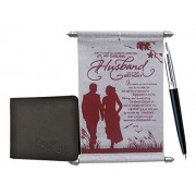 Saugat Traders Gifts for Husband on his Birthday - Husband Birthday Scroll Card With Parker Pen and Wallet