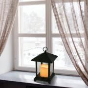 Elemes LED időzíthető világító lámpás fekete 25 cm