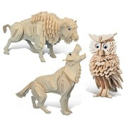 Puzzled Wolf, Owl And Buffalo Wooden 3 D Puzzle Construction Kit