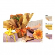 Csomagoló papír virággal 0,7x50m mustársárga