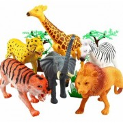 JGG Rubber Realistically Wild Animal Figurine Toys with Jungle Wallpaper for Kids Game Pack of 20