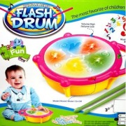 Flash Drum Musical Toy with 5 Visual 3D Lights Music 3 Game Modes for Kids Multi Color