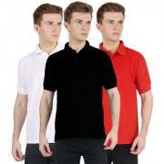 FUEGO Fashion Wear Combo Of Polo T-shirt For Men- Pack Of 3 FG-3CM-POLO-BLK-RD-WH