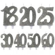 Tårtljus Silver Siffra 30