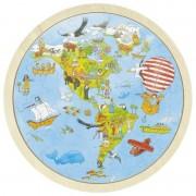 Puzzle circular din lemn Calatorie prin lume Goki, 57 piese, 30 cm