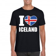 Bellatio Decorations Zwart I love Ijsland fan shirt heren