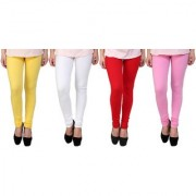 Stylobby Yellow White Red And Baby Pink Kids Legging Pack Of 4