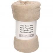 Merkloos Lichtbruine warme fleece deken/plaid 150 x 200 cm