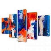 Tablou Canvas Premium Abstract Multicolor Albastru Rosu Alb 2 Decoratiuni Moderne pentru Casa 120 x 225 cm