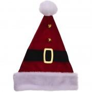 Merkloos Luxe kerstmuts met riempje 40 cm