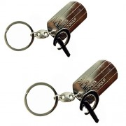 eshoppee P letter alphabet high quality metal keyring key chain for man and women set of 2 pcs (P alphabet)