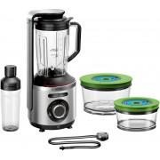 "Blender Bosch Vitamaxx MMBV625M, 1000 W, 1.5 L, Lame inox, Funcție ""auto"", Funcție puls, Zdrobire gheata, Funcție vidare, Sticlă ToGo 0.5 L, Vase etanșare în vid (1.5l, 0.75l), Argintiu"