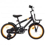 vidaXL Vélo d'enfant avec porte-bagages avant 16 pouces Noir et orange