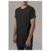 Tricou long shaped turnup tee - Urban Classics - NEGRU