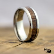 Silver Titanium Ring with Real Wood Inlay - US11