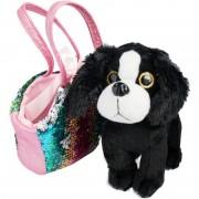 Geen Pluche zwart/witte Cocker Spaniel hond knuffel 20 cm in tas