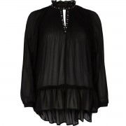 River Island Womens Black pleated eyelet high neck sheer blouse