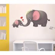 Wall Stickers Cute Cartoon Elephant And Calf Playing Theme For Nursery Kids School