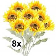 Bellatio flowers & plants 8x Gele zonnebloem kunstbloemen 82 cm
