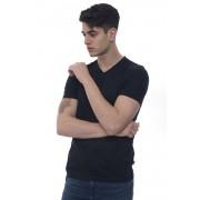 Boss T-shirt collo a V Teal 100 Blu Cotone Uomo