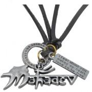 Men Style Religious Jewelry Rock Shiv Mahadev Trishul Silver Black Bronze Leather Necklace Pendant