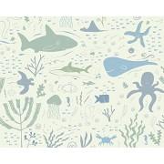 OhPopsi WALS0362 Mural de pared, diseño de aventuras submarinas, color verde