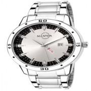 Manada Men's Silver Chain Stainless Steel Analog Quartz Wrist Watch Metallic Silver Round Shape Waterproof Calendar Window