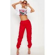 PrettyLittleThing Petite - Pantalon cargo rouge détail poches, Rouge - 36