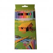 Creioane Colorate Mari EVOffice 12 Culori/Set, Dimensiuni 17.5x0.7 mm, Forma Hexagonala - Rechizite Scolare