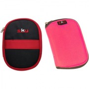 Sky Hard Disk Pouch Combo Red With Pink