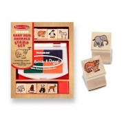Baby Zoo Animals Themed Wooden Stamp Set + FREE Melissa & Doug Scratch Art Mini-Pad Bundle [16384]
