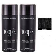 Top-pik Hair Building Fibers New bottles Black Color 27.5 grams Hair loss concealer Pack of 2 Best Quality.