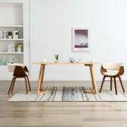 vidaXL Трапезни столове, 2 бр, кремави, извито дърво и изкуствена кожа