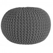 Nimara.se Cotton Puff i flätad bomull - Grå 55 cm i diameter