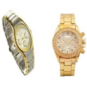 Paidu Golden Men And Rosra Gold - Silver Women Couple Watches for Men and Women