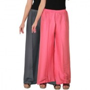 Culture the Dignity Women's Rayon Solid Palazzo Ethnic Pants Palazzo Ethnic Trousers Combo of 2 - Grey - Baby Pink - C_RPZ_G1P2 - Pack of 2 - Free Size