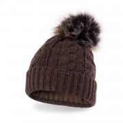Zimowa czapka damska z warkoczem PaMaMi - Czekolada