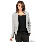 Gray Unique Collar Women Blazer Jacket