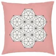 Geometric Star Print Cushion - Coral - Textured Linen - Pink