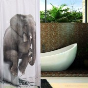 150*180cm Elephant Print Home Bathroom Waterproof Polyester Shower Curtain With Hooks