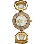 The Shopoholic Analog Diamond Gold-White Dial Gold Round Shape Metal Belt Watches For Women-Watches For Girls In Fashion