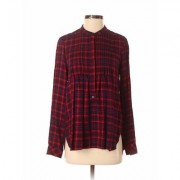 Gap Long Sleeve Blouse: Red Checkered/Gingham Tops - Size X-Small