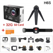 EKEN H6S acción Cámara Ultra HD Ambarella A12 chip 4k 30fps 1080p 60fps EIS 30M impermeable del deporte cámara(#H6s with 32G 4K SD)(# Opción1)