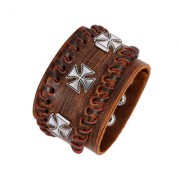 The Jewelbox 3D Cross Tan Brown 100 Genuine Handcrafted Leather Wrist Band Strap Biker Bracelet Boys Men