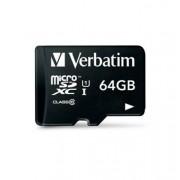Memóriakártya, microSDXC, 64GB, CL10/U1, 45/10MB/s, USB adapter, VERBATIM Tablet (MVMS64GT)